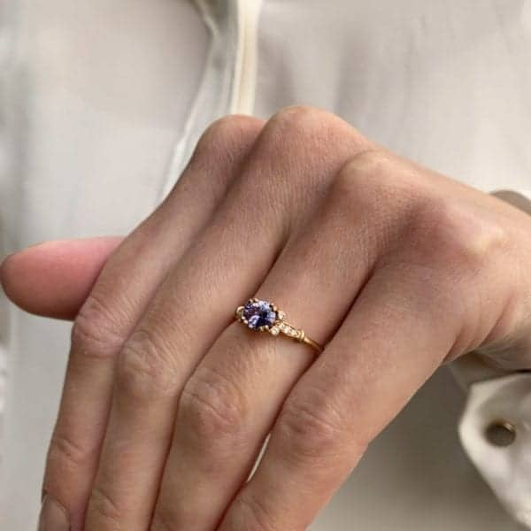 Ronan Campbell Contemporary Sapphire Diamond Rose Gold Engagement Ring Designyard