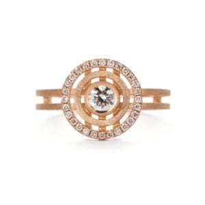 18k Rose Gold Diamond Mini Solar Engagement Ring DesignYard