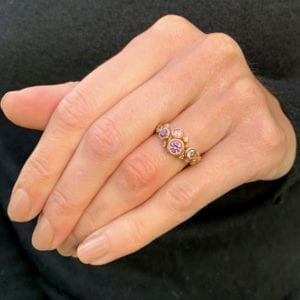 contemporary ring rose gold pink spinel diamond diana porter designyard