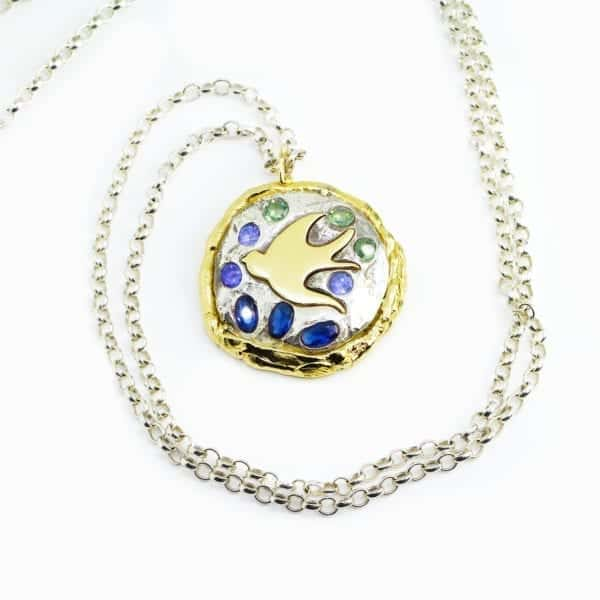 contemporary necklace yellow gold sapphire tanzanite silver ella green designyard