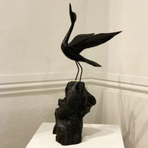 contemporary sculpture art in bog oak bird tony downey designyard