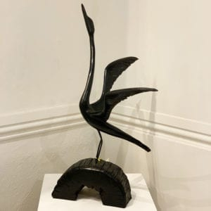 contemporary art sculpture made in bog oak bird tony downey designyard