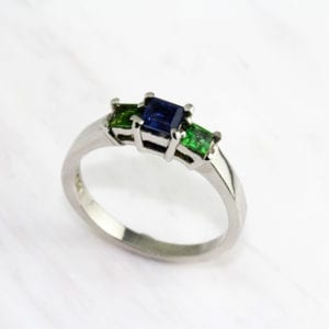 contemporary art jewellery rings tsavorite sapphire platinum designyard dublin ireland friederike grace