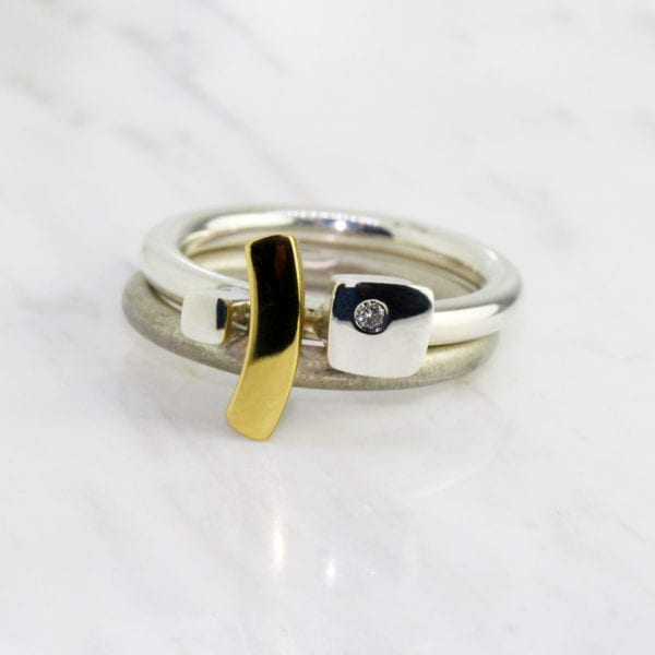 contemporary jewelery ring stack yellow gold diamond silver paul finch designyard
