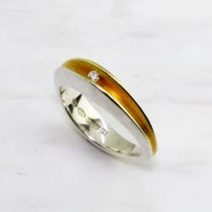 contemporary diamond ring silver yellow gold paul finch designyard