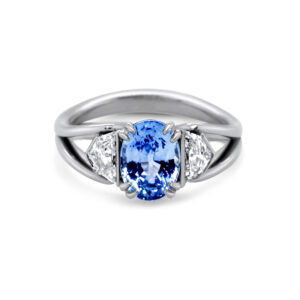 ronan campbell bespoke platinum sapphire split shank diamond engagement ring designyard contemporary jewellery gallery dublin ireland
