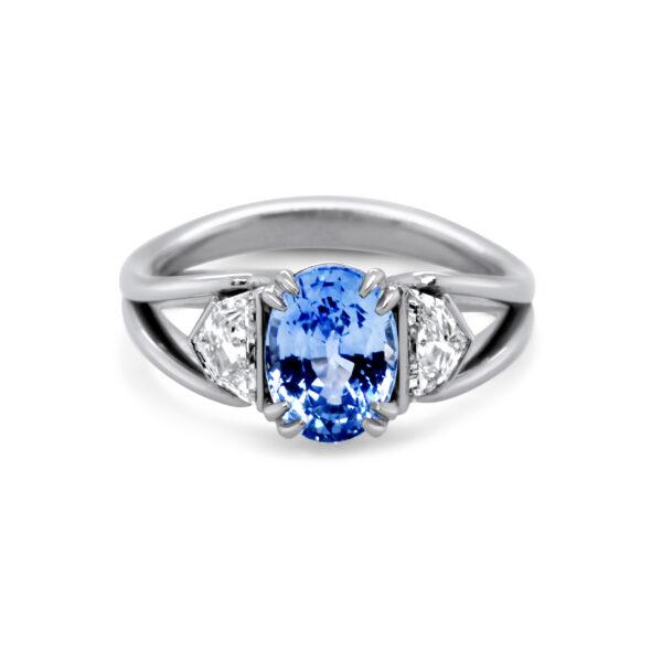 ronan campbell bespoke platinum sapphire split shank diamond engagement ring designyard contemporary jewellery gallery dublin ireland