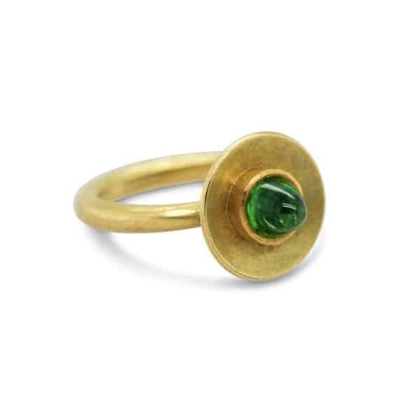 catherine mannheim 18k yellow gold green garnet tsavorite ring designyard contemporary jewellery gallery dublin ireland