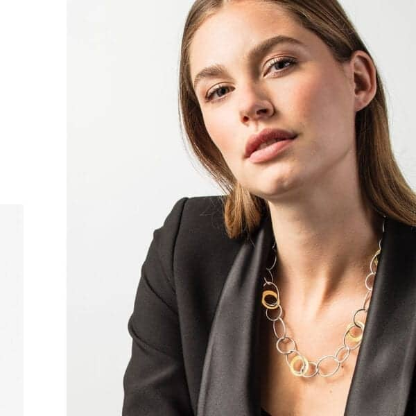 manu ovals necklace silver gold designyard dublin ireland contemporary jewellery gallery