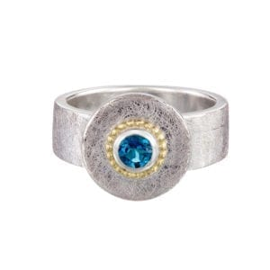 contemporary jewellery dublin ireland designyard silver gold blue topaz oceania ring cassie mccann art design