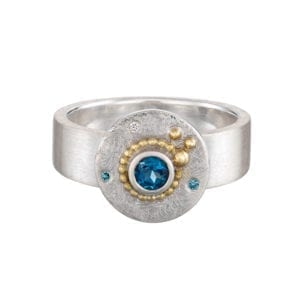 contemporary jewellery designyard dublin ireland silver ring cassie mc cann oceania blue topaz diamond art rings