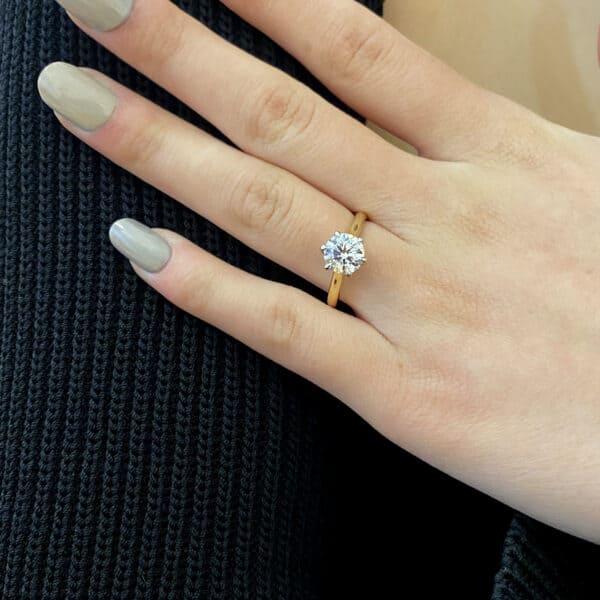 designyard 18ct white yellow gold round six claw solitaire lab grown 1.55ct diamond engagement ring designyard contemporary jewellery gallery dublin ireland