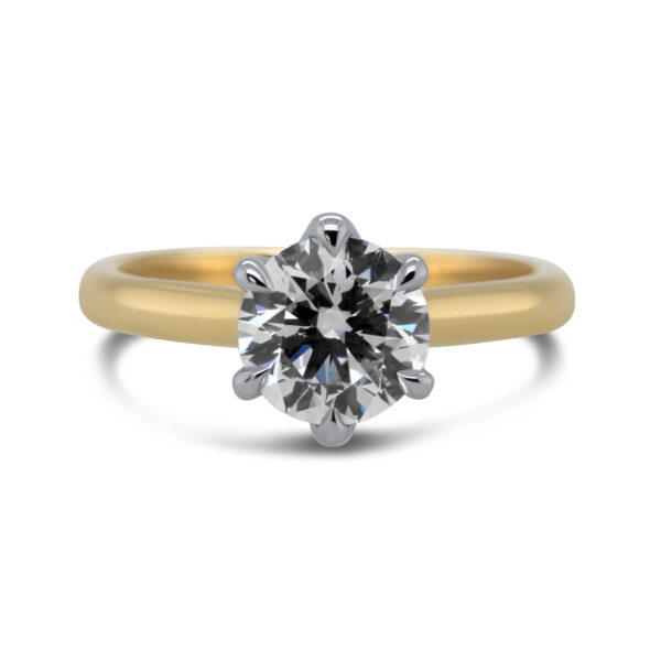 18ct white yellow gold round six claw solitaire lab grown 1.55ct diamond engagement ring designyard contemporary jewellery gallery dublin ireland