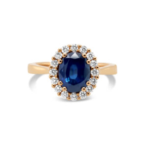ronan campbell 18k rose gold blue sapphire diamond ring designyard contemporary jewellery gallery dublin ireland