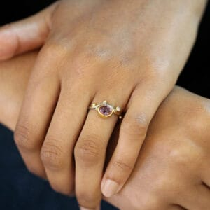 josephine bergsoe silver 18k 22k 24k yellow gold pink sapphire diamond seafire ring alternative engagement ring design designer jewelry irish jewellers shop