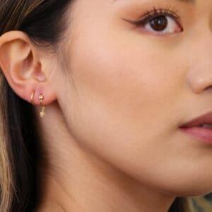 josephine bergsoe yellow gold fire opal diamond spiral earrings designyard contemporary jewellery gallery dublin ireland fine jewelry design