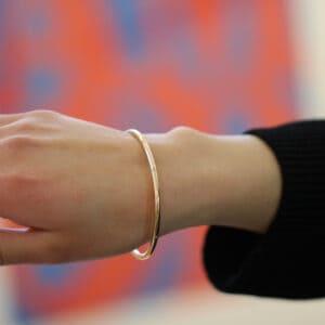9k rose gold solid oval round diamond bangle designyard goldsmiths workshop contemporary jewellery gallery dublin ireland handmade upcycled jewelry irish design designer shop jewellers goldsmiths