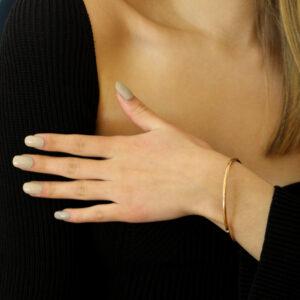 9k rose gold solid oval round diamond bangle designyard goldsmiths workshop contemporary jewellery gallery dublin ireland