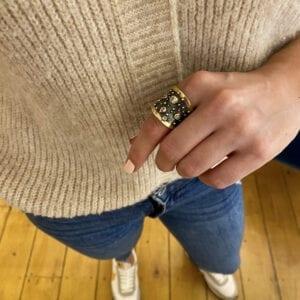 bergsoe halle berry ring diamond yellow gold silver designyard dublin ireland contemporary jewellery gallery