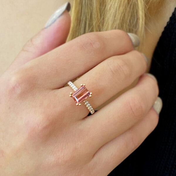 ronan campbell 18k rose gold pink tourmaline diamond engagement ring designyard contemporary jewellery gallery dublin ireland