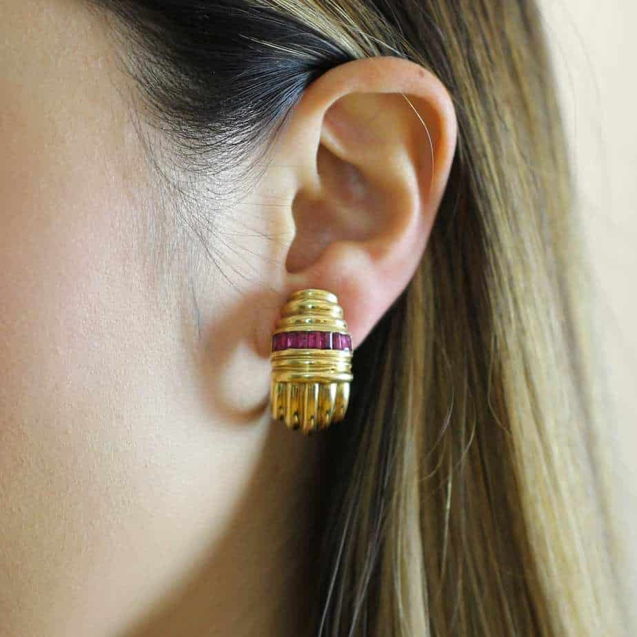 vintage 18k yellow gold 1980s ruby statement earrings designyard dublin ireland french