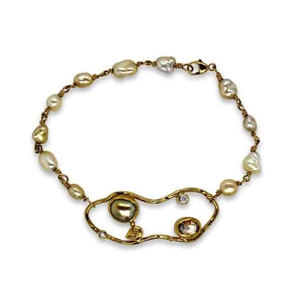 josephine bergsoe yellow gold pearl diamond cloud bracelet designyard dublin ireland contemporary jewellery art sculpture banksy
