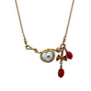 josephine bergsoe yellow gold coral pearl diamond seafire contemporary necklace designyard dublin ireland contemporary art jewellery danish design