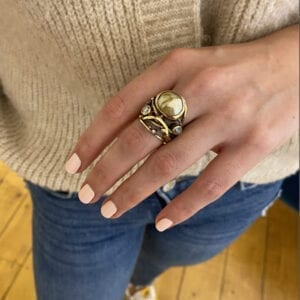 josephine bergsoe south sea pearl diamond twisted ring designyard dublin ireland contemporary jewelry gallery
