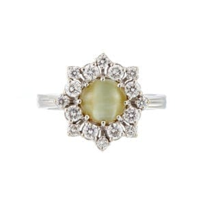 18k white gold cats eye chrysoberyl diamond ring designyard fine jewellery gallery dublin ireland dubai uae hong kong paris rome milan venice olso london belfast limerick kerry kenmare manhattan new york the hamptons