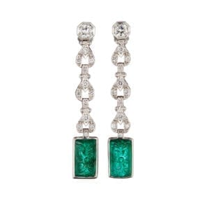 18k white gold emerald diamond ear drop earrings designyard fine jewellery gallery dublin ireland monaco paris new york manhattan the hamptons olso zurich geneva basel london belfast rome venice milan st tropez switzerland adare manor co limerick sheen falls co kerry