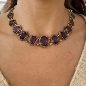 antique amethyst gold collier necklace in original box biedermeier 1815-1848 designyard dublin ireland vintage necklace monaco italy london paris rome manhattan new york venice sheen falls co kerry adare manor co limerick belfast