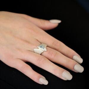 cassie mccann blue beauty blue diamond silver ring designyard contemporary jewellery gallery dublin ireland handmade jewelry
