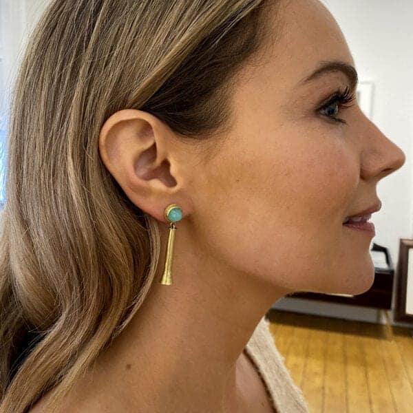 catherine mannheim 18k yellow gold andean opal trumpet earrings designyard contemporary jewellery gallery dublin ireland fine jewellery luxury boodles tiffany