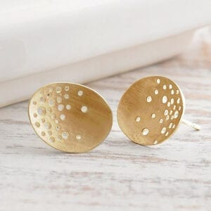 kate smith 9k yellow gold oval stud earrings ks206 designyard contemporary jewellery gallery dublin ireland