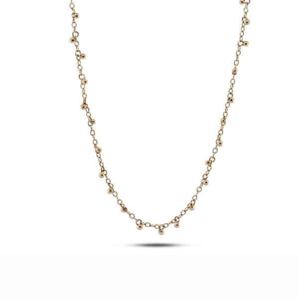 neeltje huddleston slater 14k yellow gold dainty drops necklace designyard contemporary jewellery gallery dublin ireland handmade jewelry design designer irish jewellers shop