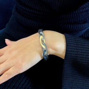 nicole van der wolf oxidised silver 18k yellow gold shipshape link bracelet designyard contemporary jewellery gallery dublin ireland