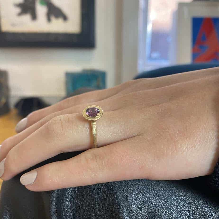 diana porter fair trade gold spinel engagement ring designyard contemporary jewellery gallery dublin ireland