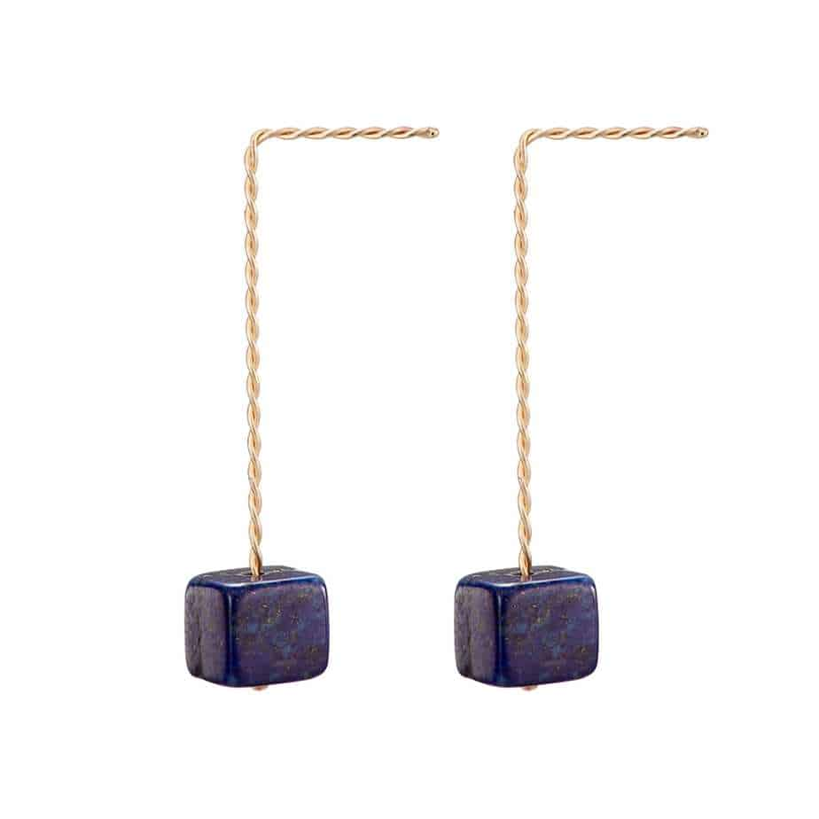 nicole van der wolf cubo lapis lazuli long earring designyard contemporary jewellery gallery dublin ireland