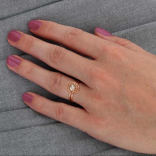 shimell and madden 18k rose gold mini double nova diamond alternative engagement ring designyard contemporary jewellery gallery dublin ireland