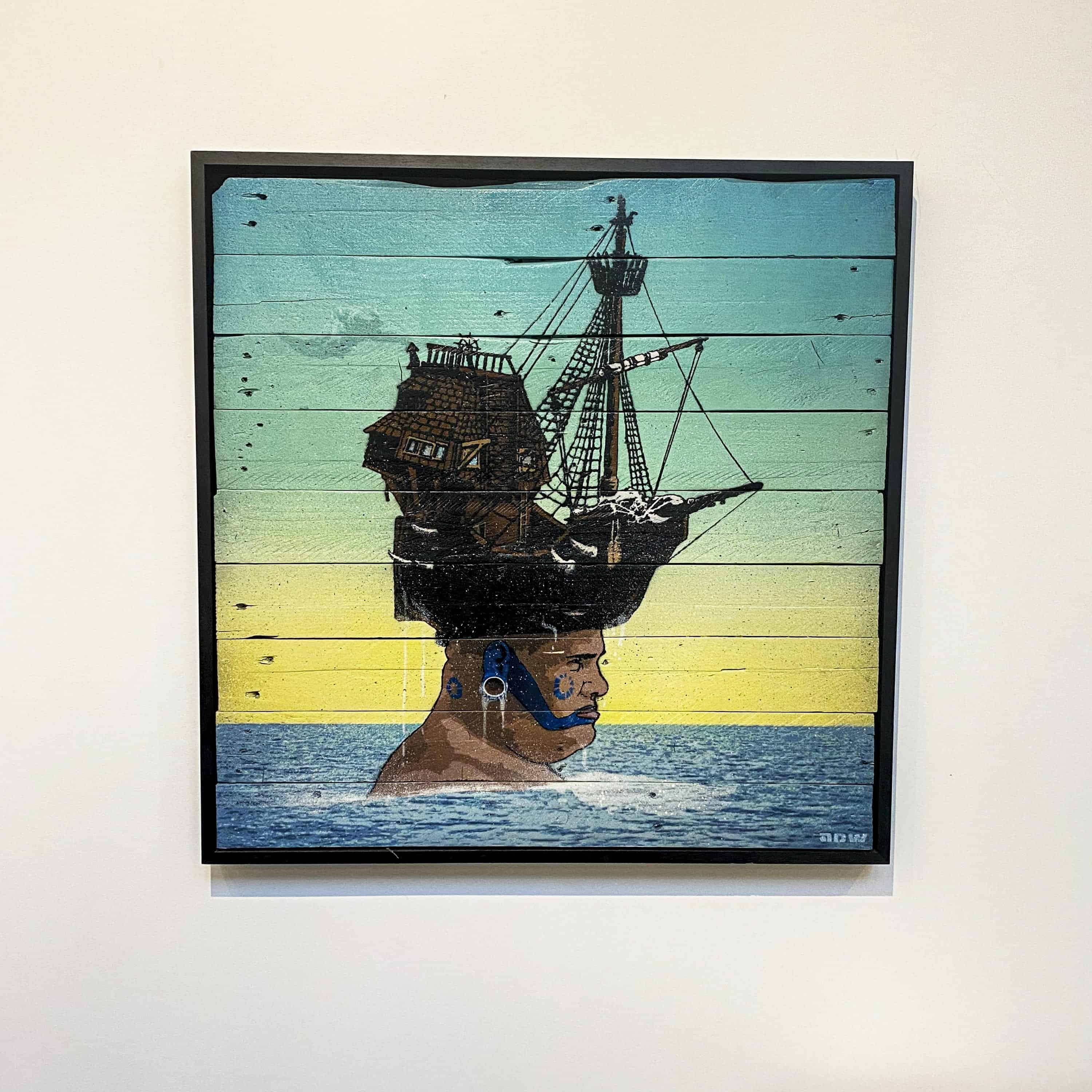 adw art original time bandit on wood designyard contemporary art gallery dublin ireland