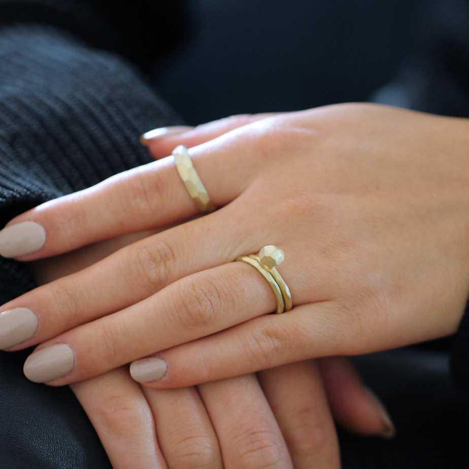 atelier luz 14k yellow gold diamond engagement ring and wedding ring honey collection designyard contemporary jewellery gallery dublin ireland