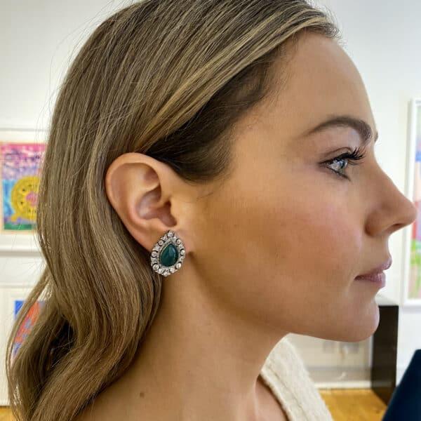 edwardian platinum 18k yellow gold emerald diamond ear clips designyard fine jewelry gallery dublin ireland