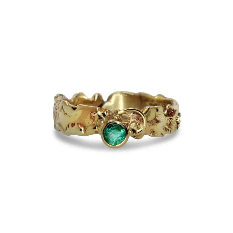 friederike grace 14k yellow gold emerald ring designyard contemporary jewellery gallery dublin ireland