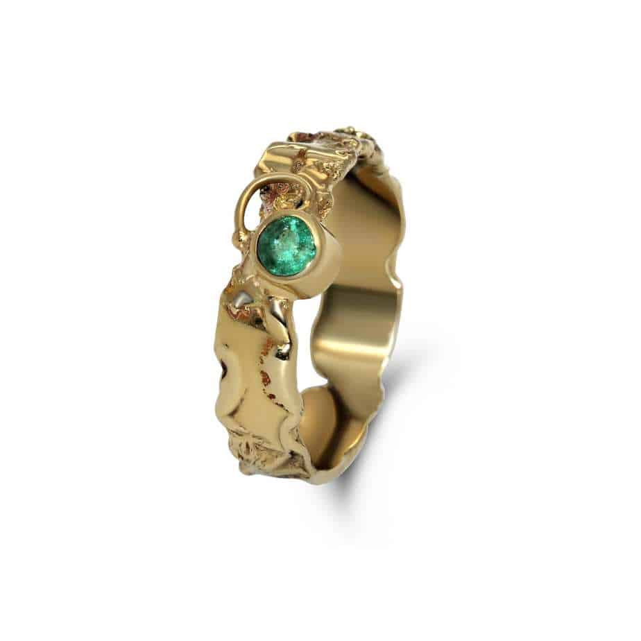 friederike grace 14k yellow gold emerald ring designyard contemporary jewellery gallery dublin ireland