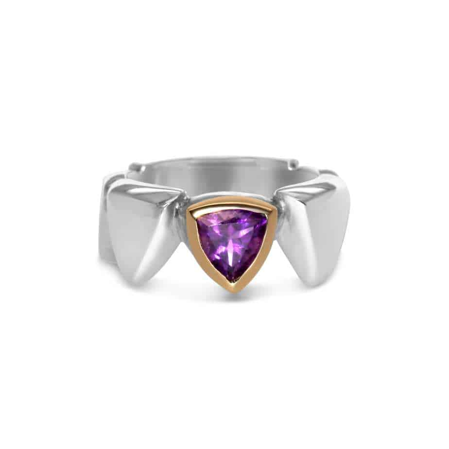 friederike grace 18k yellow gold silver amethyst seven seals triangle ring designyard contemporary jewellery gallery dublin ireland