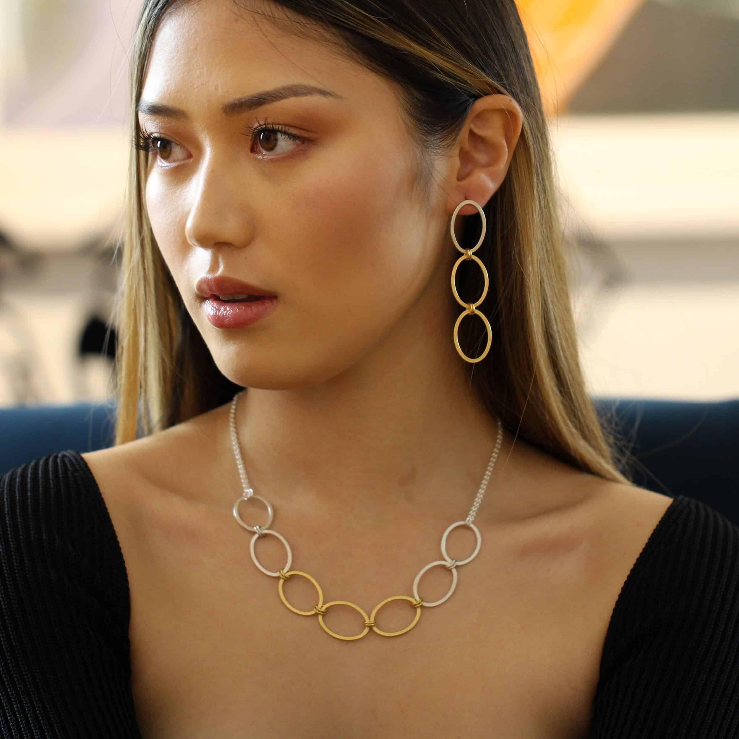 heather oconnor sterling silver ellipse long chain earrings designyard contemporary jewellery gallery dublin ireland