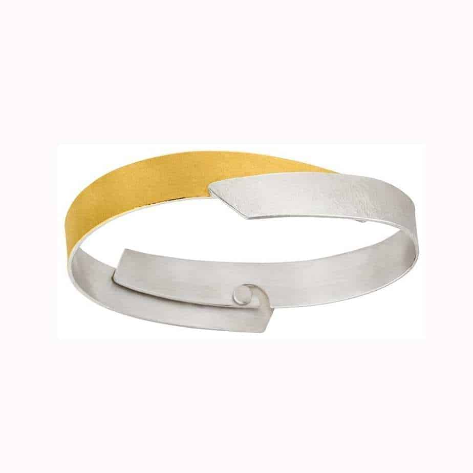 manu sterling silver 22k yellow gold layered bangle designyard contemporary jewellery gallery dublin ireland