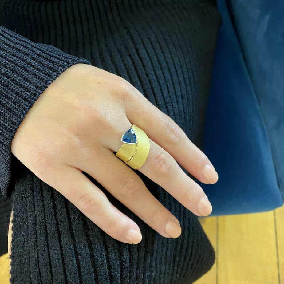 manu sterling silver 22k yellow gold london blue topaz trillion ring designyard contemporary jewellery gallery dublin ireland