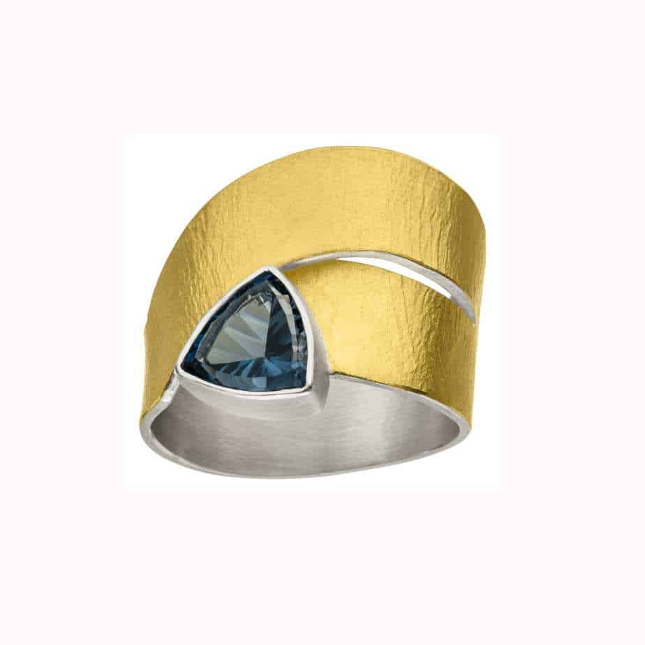 manu sterling silver 22k yellow gold london blue topaz trillion ring designyard contemporary jewellery gallery dublin ireland