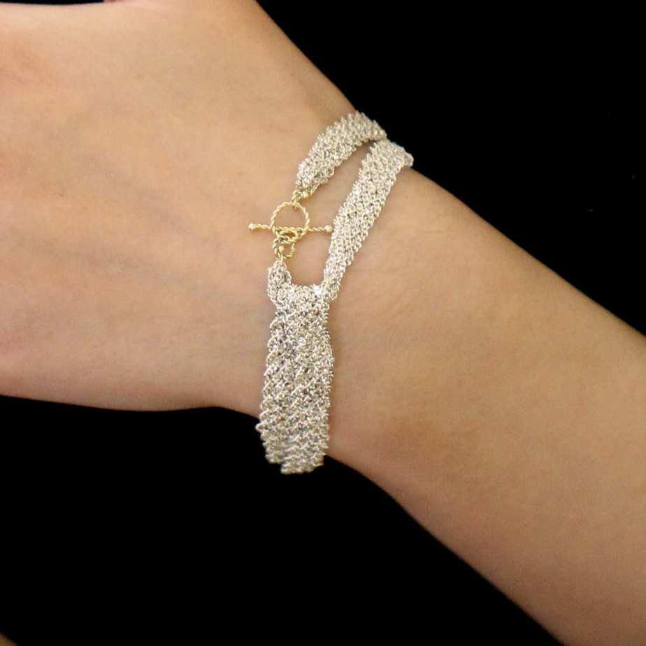 myriam oude vrielink sterling silver 14k yellow gold wide ribbon bow bracelet designyard contemporary jewellery gallery dublin ireland